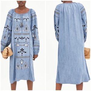 Zara Embroidered Denim Tunic Dress